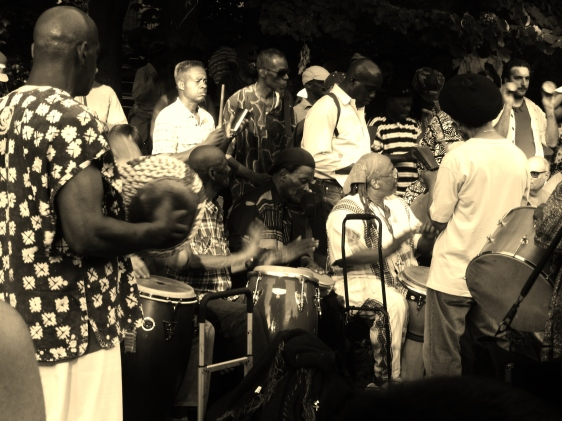 Congo Square Drummers in Drum Circle at Drummers Grove in Prospect Park