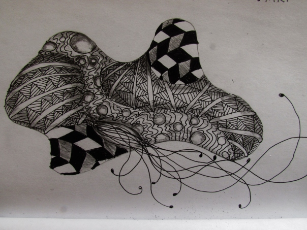 Rhino doodle using Zentangle patterns