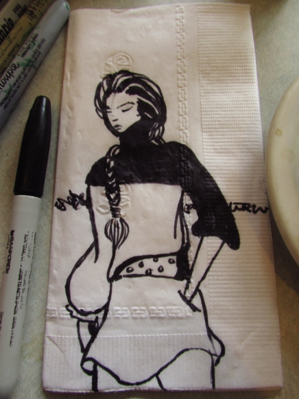 Braided Lady, drawn and left at Megabites Diner in Ft. Greene, Brooklyn