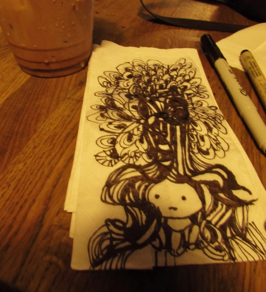 Tree Headed Girl drawn at Bittersweet Cafe