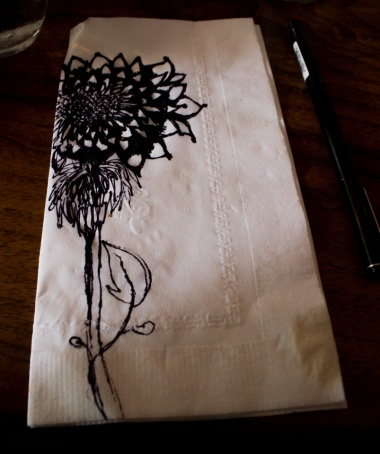 Doodle drawn on a napkin at Café Doodle, August 2014
